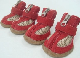 Dog Shoes Genuine Leather Red